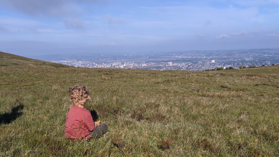 Oisín at the top of Divis mountain