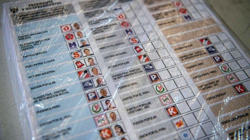 Cédula de votación de las elecciones de 2021.