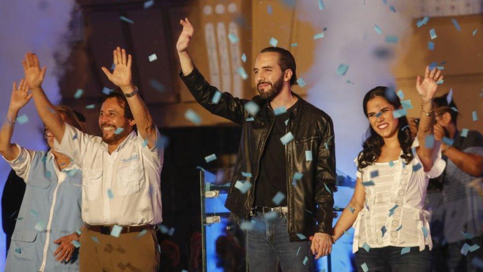 Bukele en su victoria en El Salvador.