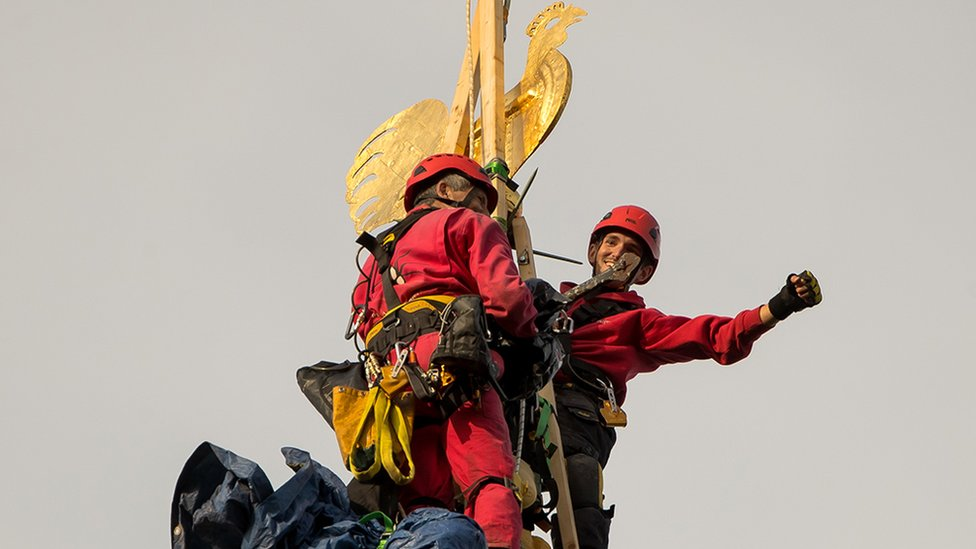 Chris and Sam Milford on Norwich Cathedral's spire