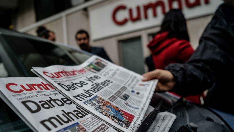 "Headline in Cumhuriyet's Monday edition reads ""Coup against opposition"""