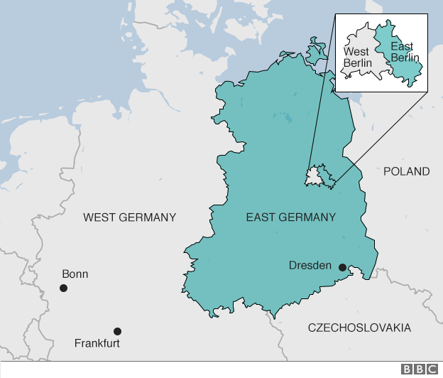 Map showing old division - East/West Germany