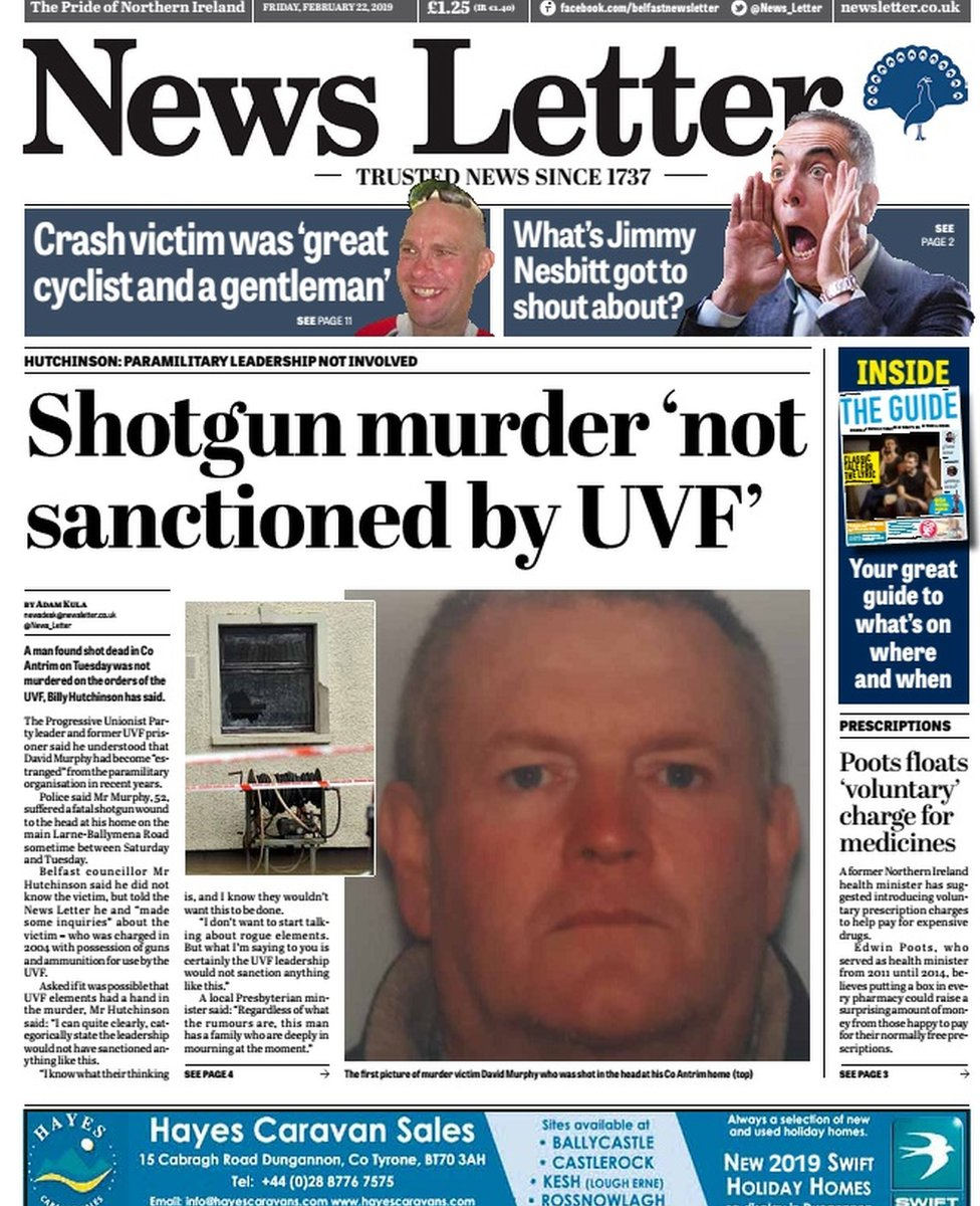 front page of News Letter 22 February 2019