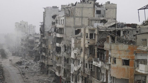 A picture of bombed buildings in Homs, Syria