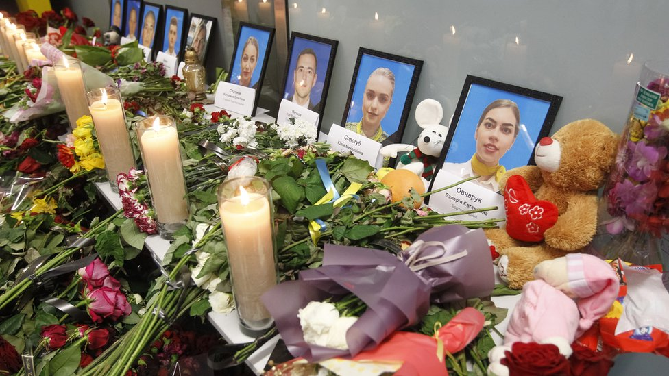 Memorial to victims of Flight PS 752 at Boryspil International Airport, Kiev, Ukraine