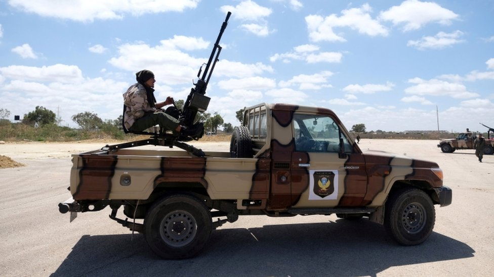 A member of Libyan National Army (LNA), commanded by Khalifa Haftar, is seen as he heads out of Benghazi