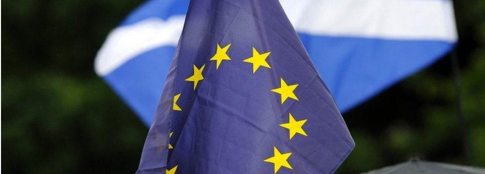 EU and Scottish Saltire flags