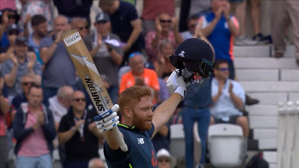 Watch: Bairstow reaches 'wonderful hundred' with a six