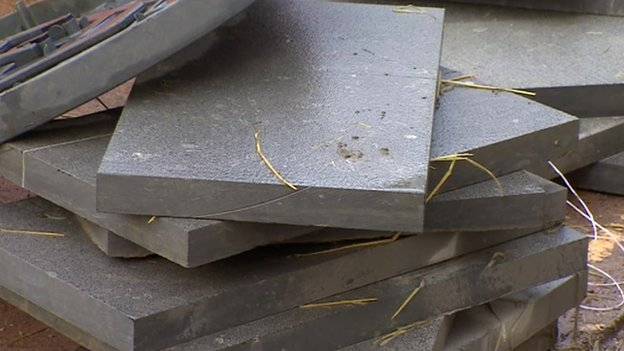Blue Lias paving slabs being used in Dunster