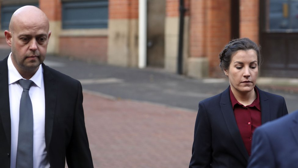 Police constables Benjamin Monk (left), and Mary Ellen Bettley-Smith (right), arrive at Birmingham Crown Court