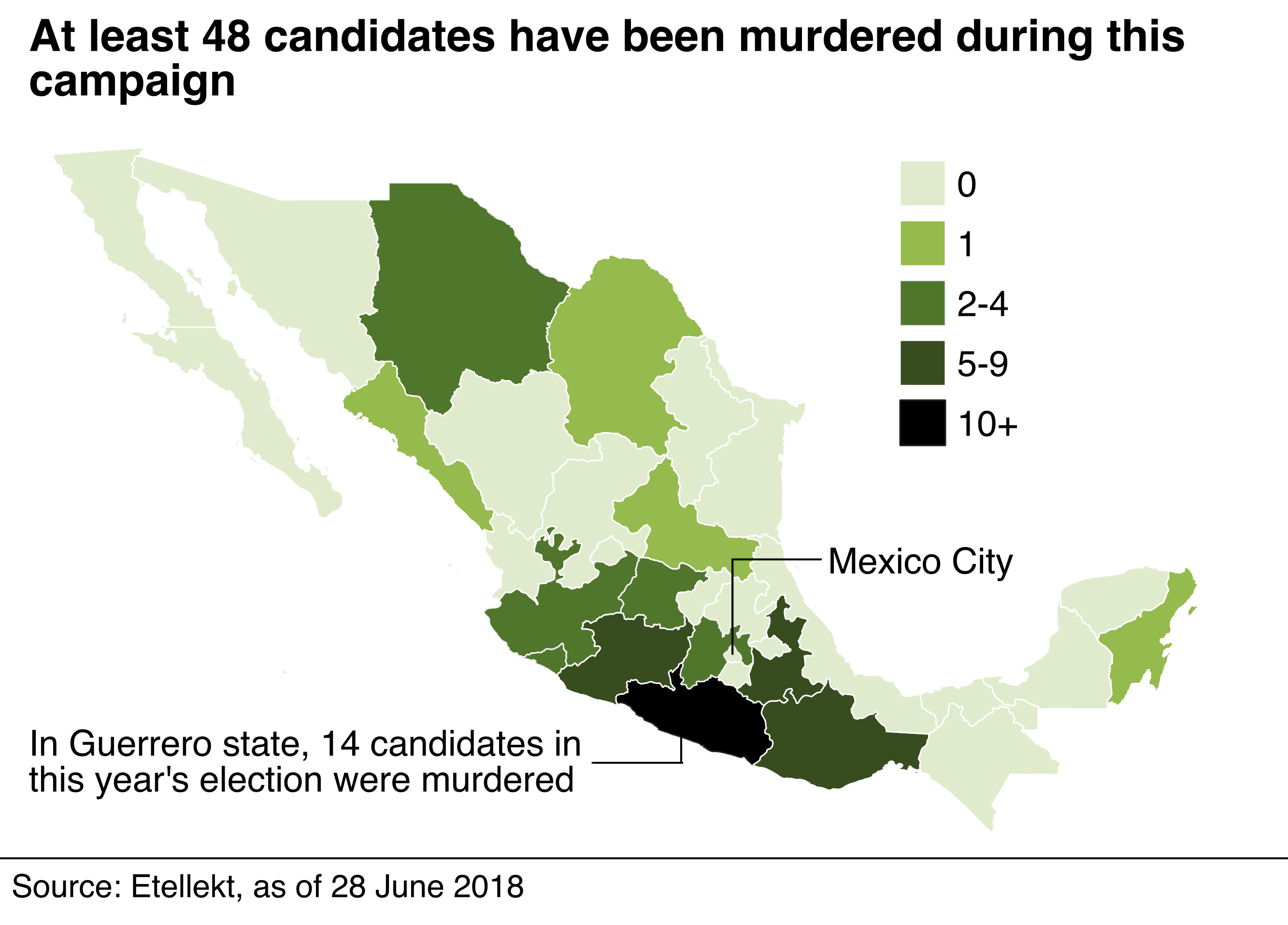 Map showing where candidates were murdered