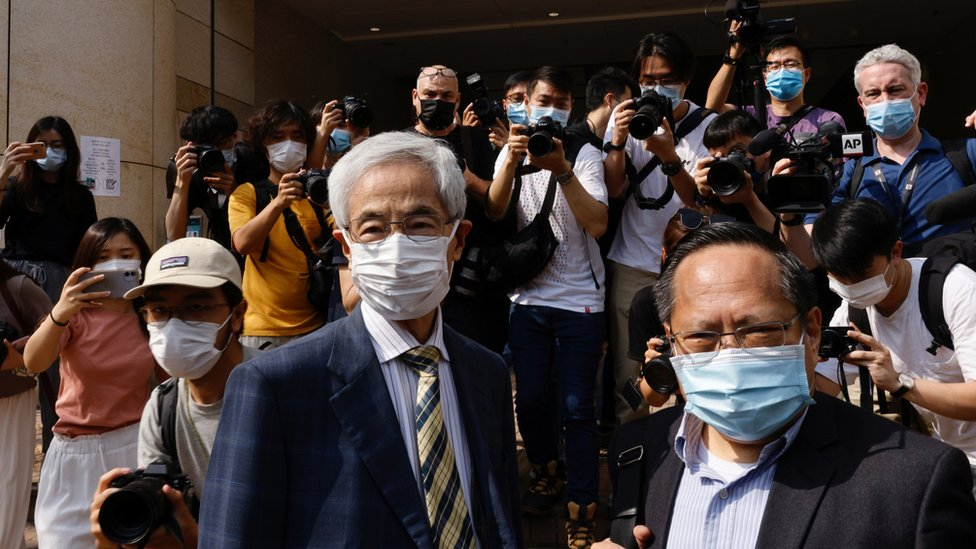 Democratic Party founder and barrister Martin Lee and Albert Ho arrive at the West Kowloon Courts for verdicts in landmark unlawful assembly case, in Hong Kong, China April 1, 2021. REUTERS/Tyrone Siu