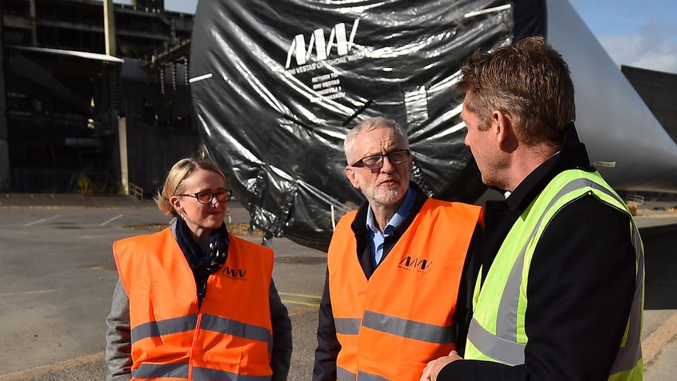 Rebecca Long-Bailey and Jeremy Corbyn visit a wind turbine factory