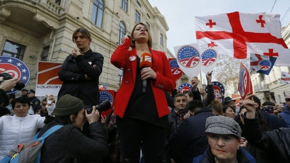 Journalists do a live broadcast at a protest rally outside Georgia's Supreme Court in Tbilisi. Photo: 2 March 2017