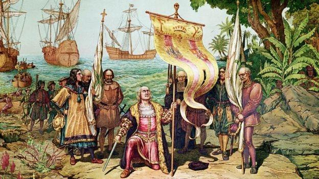 Esta imagen muestra la llegada de Colón a América en 1492. Hernando lo acompañó en su cuarto y último viaje, en 1502.