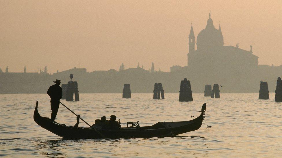 A gondolier in Venice