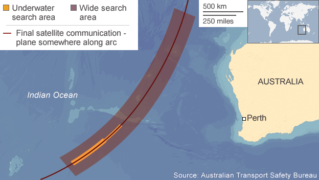 Peta pencarian di bawah laut MH370