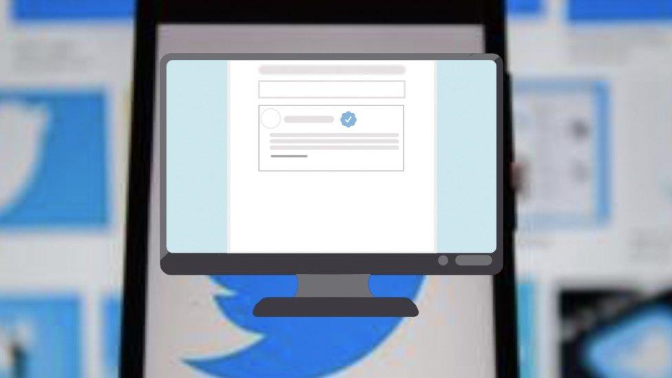 Monitor kompjuter, Tviter logo u pozadini