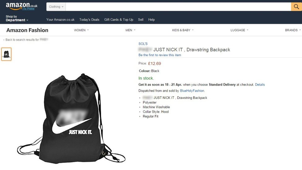 A drawstring bag with the racial slur (blurred)