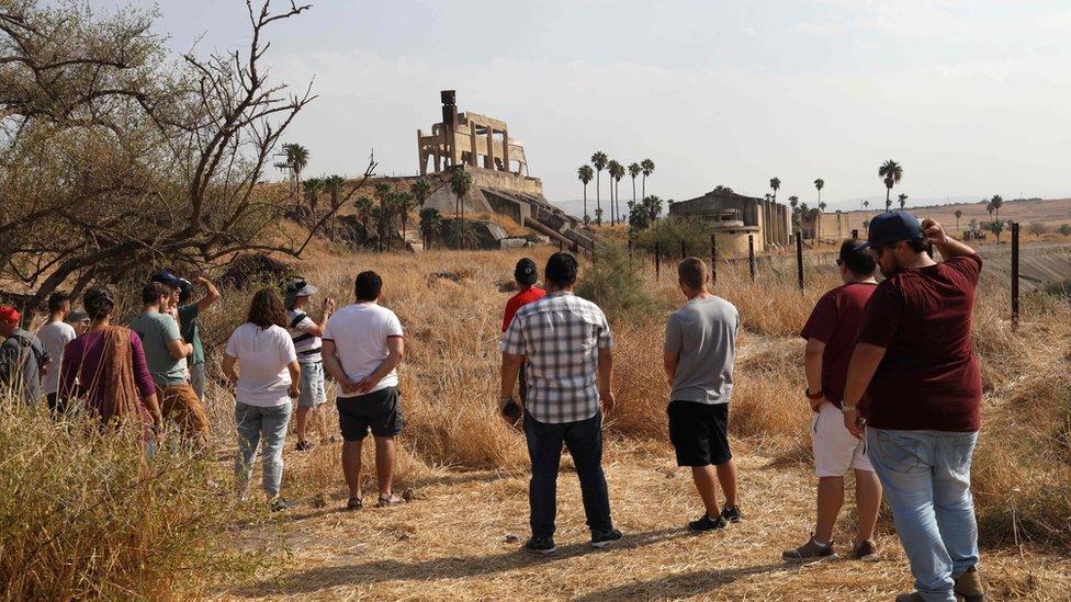 Israeli tourists visit the Naharayim peace park on November 8, 2019