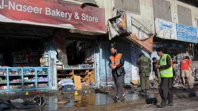 Scene of bomb blast in Quetta