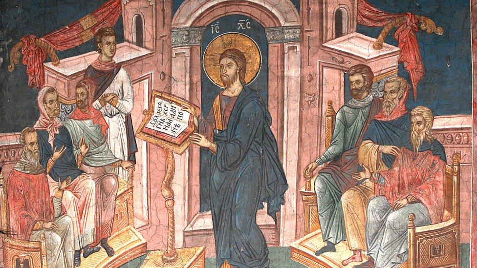 Pintura de Jesús en una sinagoga de Nazaret.
