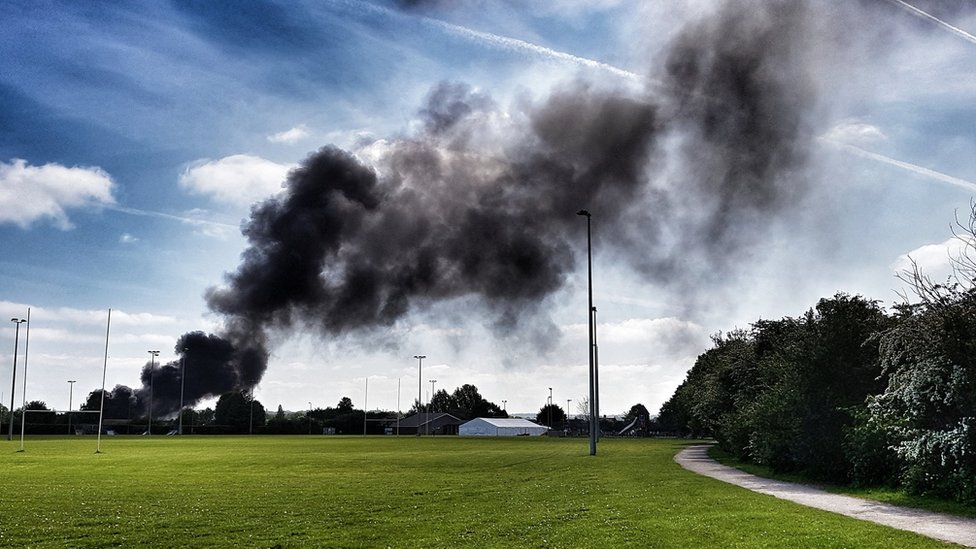 Hitchin industrial estate fire involves electrical goods