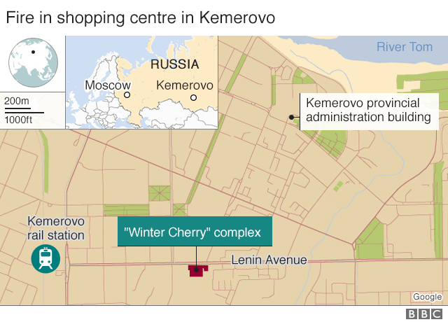 Map showing location of shopping centre and Kemerovo in relation to Moscow