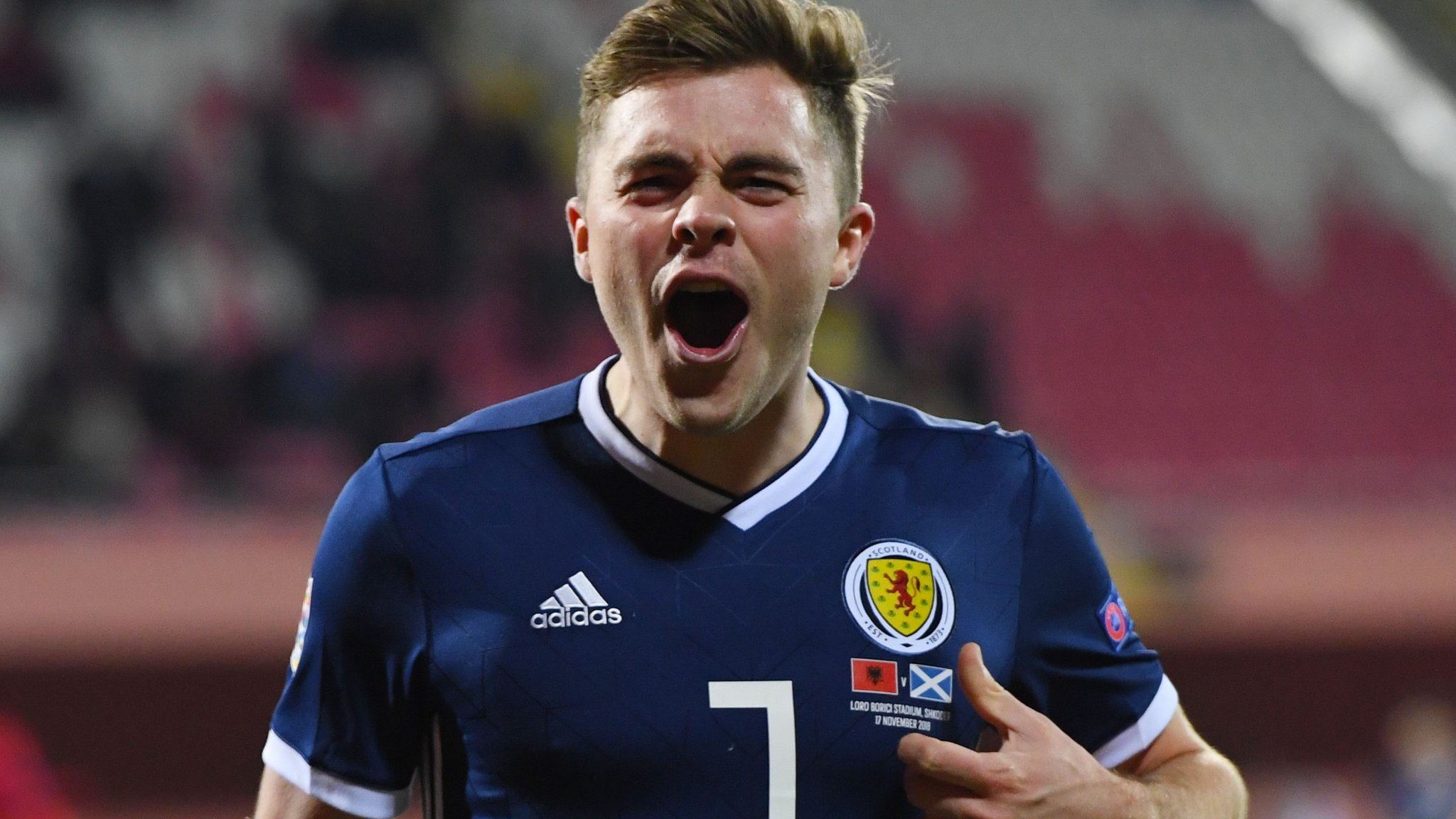 Scotland stroll past 10-man Albania to boost play-off hopes