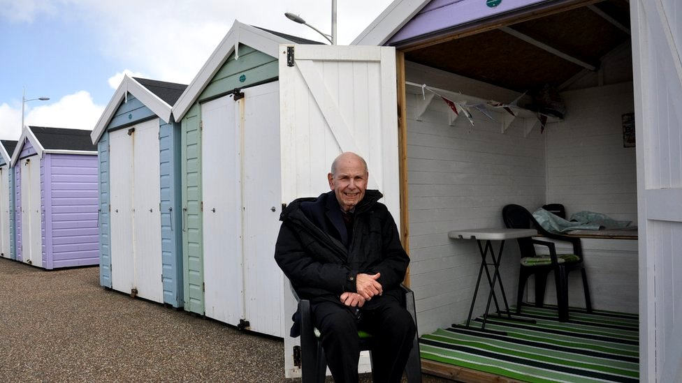 Michael Ham at the beach hut he leases in Weston