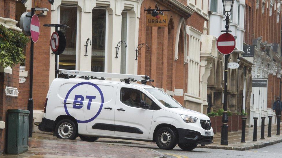 A BT van in Edinburgh