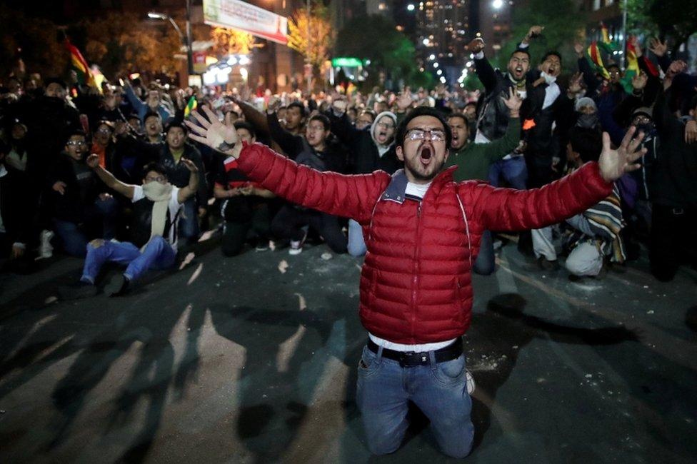 Protestas de seguidores de Mesa, en Bolivia.