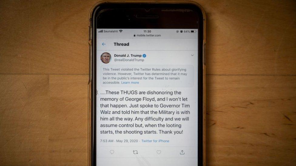 Twitter Trump'ın bir tweetine,