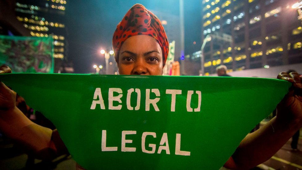 A pro-choice protest in Sao Paulo on 8 August 2018