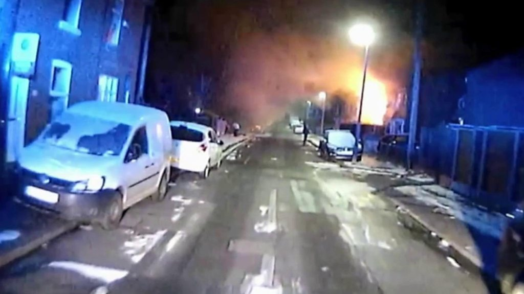 CCTV shows Salford fire murders house engulfed in flames