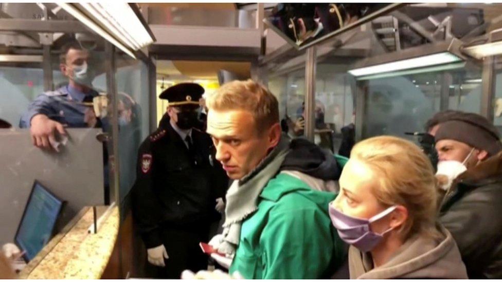Navalny en el momento de su detención.