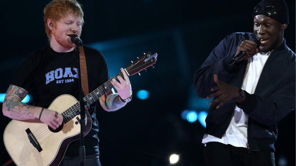 Ed Sheeran and Stormzy on stage together