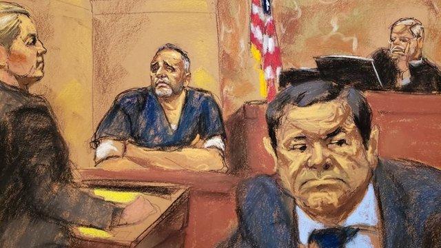"""Alex Cifuentes y """"El Chapo"""" durante el juicio."""