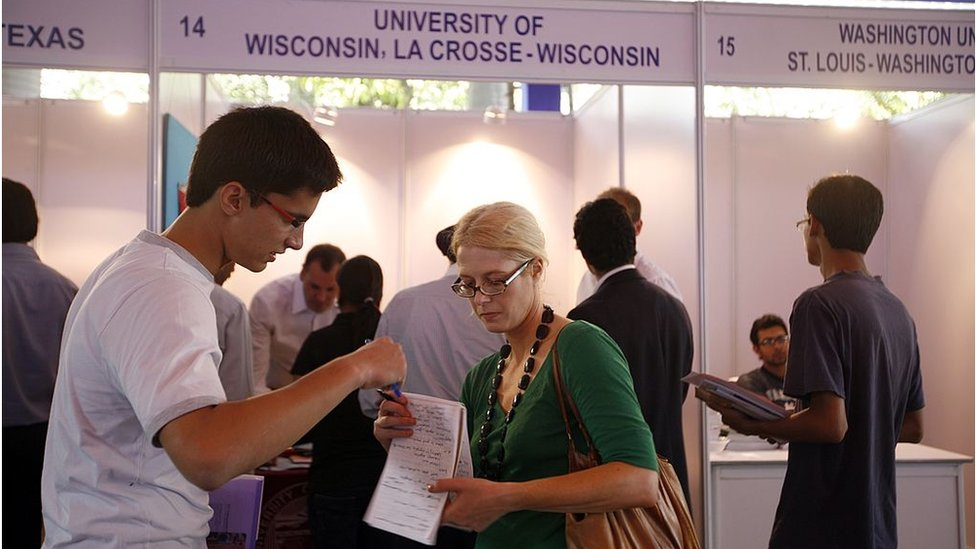 Representatives of 17 American educational institutions participate in a U.S. University Fair Organized by the United States-India Educational Foundation (USIEF)