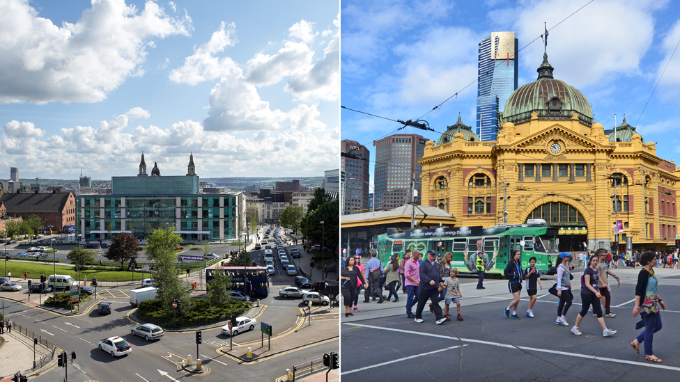 Composite of Leeds and Melbourne