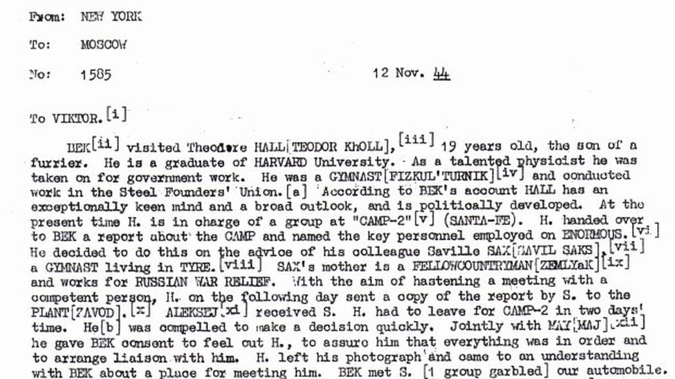 Declassified cable details contacts between Hall and a Russian in 1944