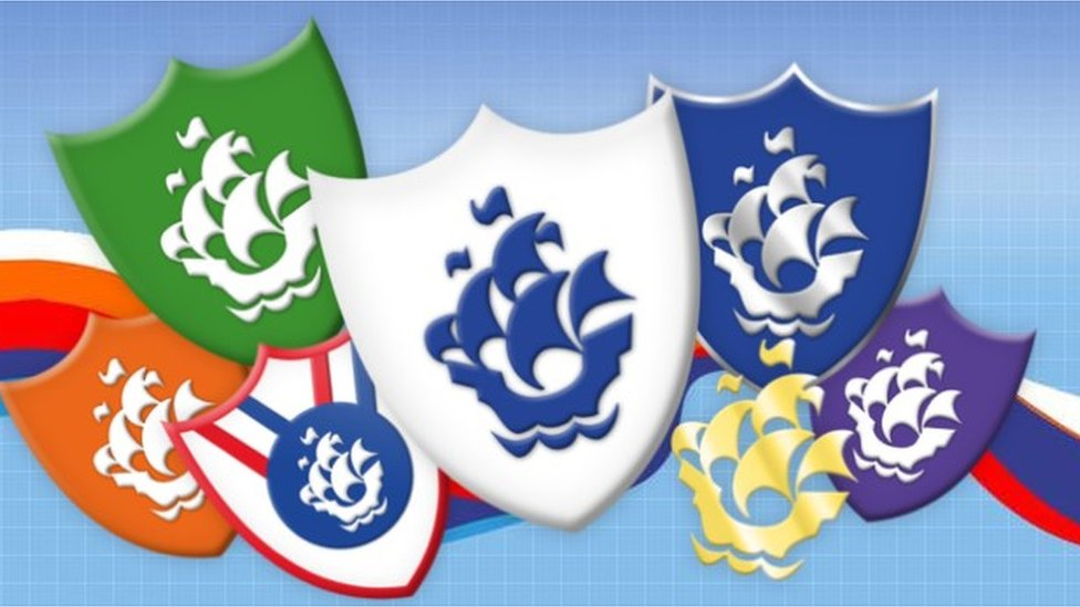 Cartoon picture of various Blue Peter badges