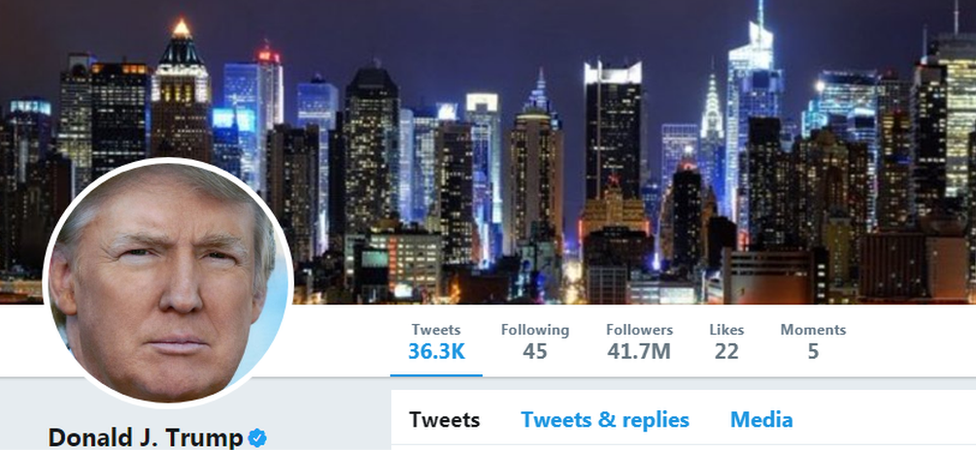 Screengrab of Donald Trump's Twitter page