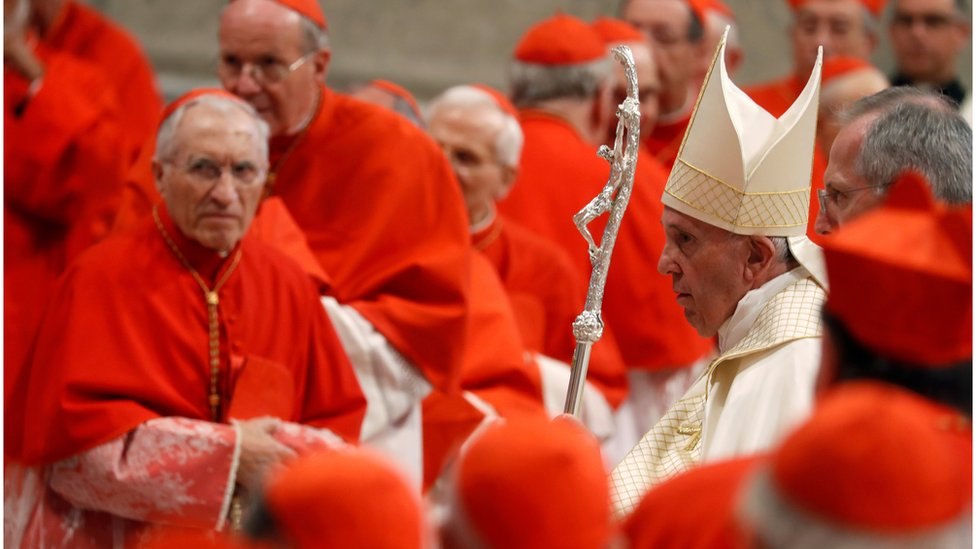 Pope Francis walks past ranks of red-clad cardinals during a ceremony at the Vatican (October 5, 2019)