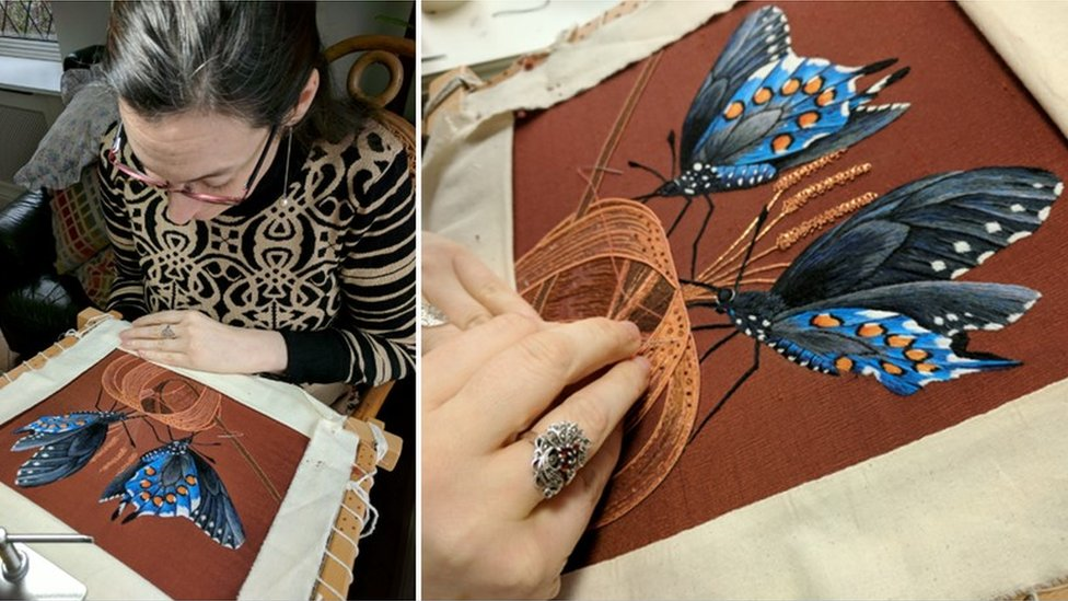 Hannah and her embroidery - two blue butterflies