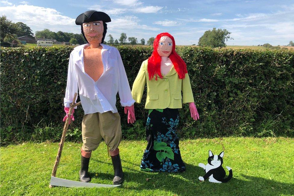 Poldark and Demelza scarecrows