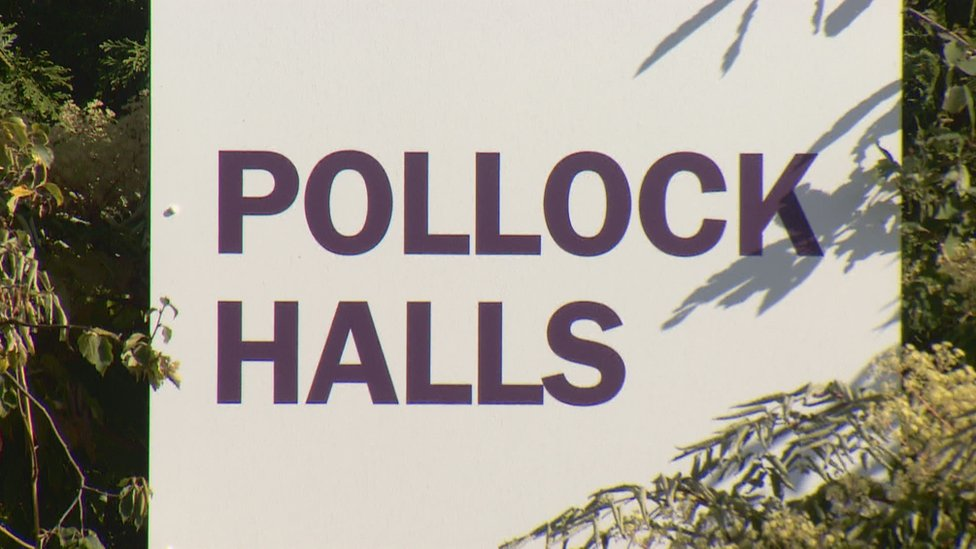 Pollock Halls sign