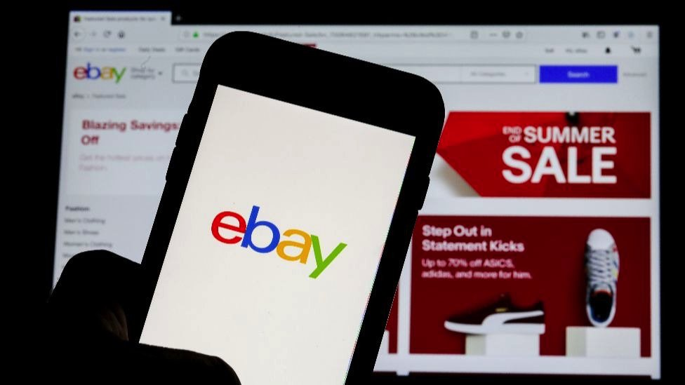The eBay logo is pictured on a phone screen in this photo illustration in New York, U.S., July 23, 2019.