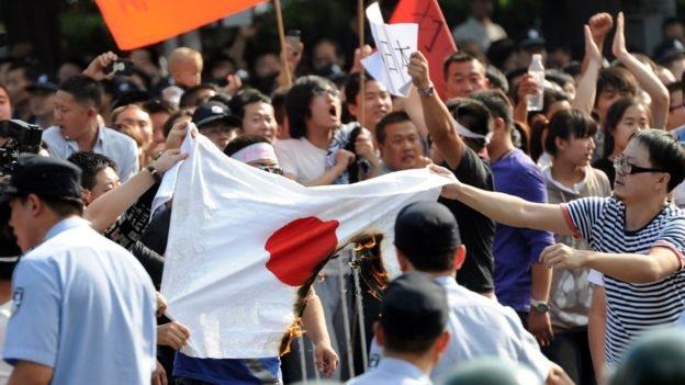 Unjuk rasa anti Jepang di Cina pada tahun 2012.