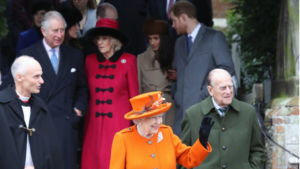 The Queen and other members of the Royal Family at Sandringham